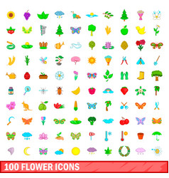100 flower icons set cartoon style vector