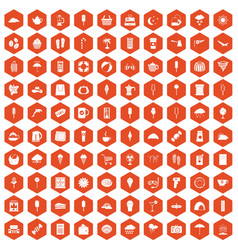 100 ice cream icons hexagon orange vector