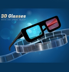 3d glass movie cinema object vector