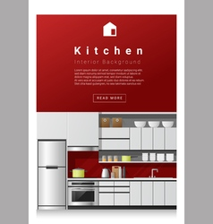 Interior design modern kitchen banner 1 vector