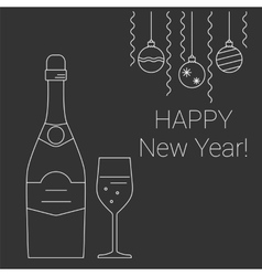 Bottle and glass of champagne on chalkboard vector