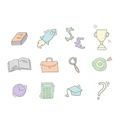 Set of Hand drawn business icons vector image