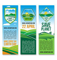 Earth day banners for save planet nature vector