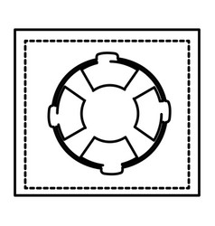 Silhouette square shape frame with flotation hoop vector