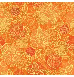 Golden orange floral texture seamless pattern vector