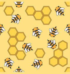 Flat color seamless beekeeping pattern vector