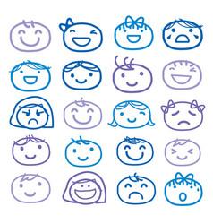 face kids draw emotion feeling icon cute cartoon v vector image
