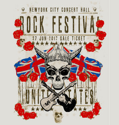 poster for a rock music festival with skull and vector image