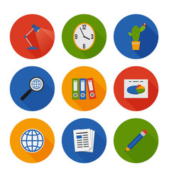 Flat icons set business office vector
