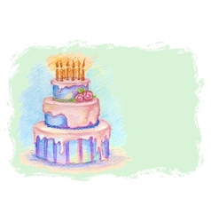 Card with hand drawn birthday cake vector