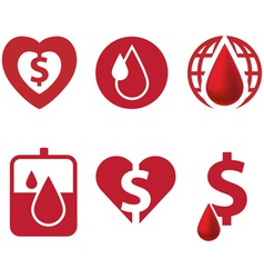 Blood and heart icon with dollar currency vector