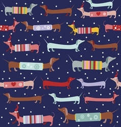 Holiday pattern with cute dogs vector