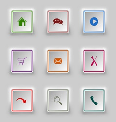 Surface color web buttons square template vector