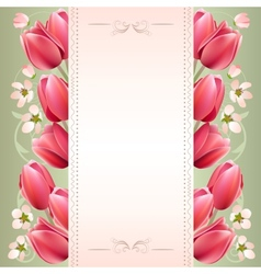 Romantic spring background with tulips vector