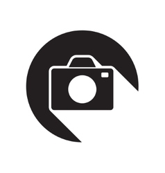 Black icon with camera and stylized shadow vector
