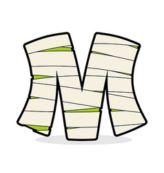 Letter m mummy typography icon in bandages vector