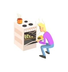 Guy taking out cookies from oven vector