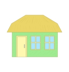 Green cottage icon cartoon style vector