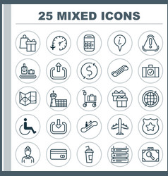 Airport icons set collection of accessibility vector