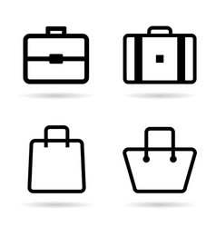 Bag icon in black color set vector