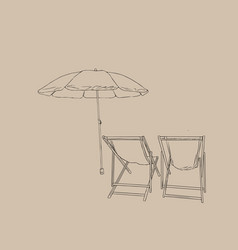 beach chairs with umbrella sketch vector image vector image