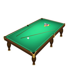 Billiard game balls start position on a realistic vector
