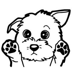 Black and white cartoon dog for coloring book vector