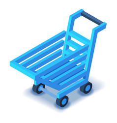 Blue shopping cart icon isometric style vector