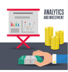 businessman checking the statistic and finances vector image