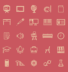 classroom line color icons on red background vector image vector image