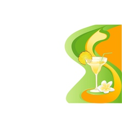 Cocktail card with ananas and plumeria vector