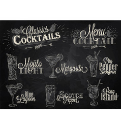 Cocktails chalk vector image vector image