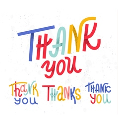 Collection of four custom colorful Thank you word vector image vector image