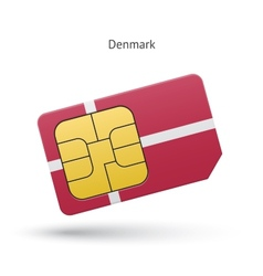 Denmark mobile phone sim card with flag vector