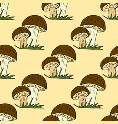 doodle style seamless pattern with forest vector image