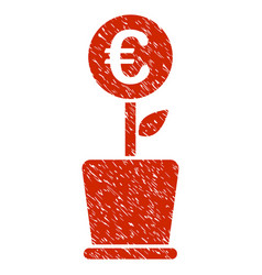 Euro project pot icon grunge watermark vector