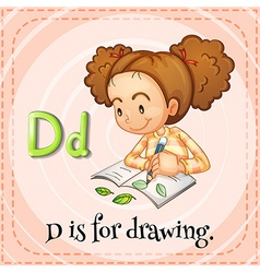 Flashcard letter d is for drawing vector