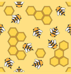 Flat color seamless beekeeping pattern vector