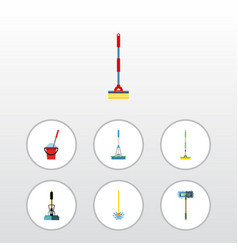 Flat icon mop set of broom equipment bucket and vector