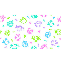 funny faces seamless pattern vector image vector image