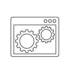 Gears inside the browser window line icon vector