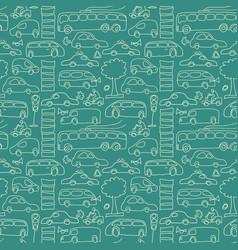 Green seamless transport pattern vector