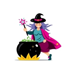 Halloween witch and cauldron cartoon vector