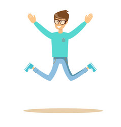 handsome man jumping and smiling vector image vector image