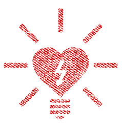 Heart electric bulb fabric textured icon vector