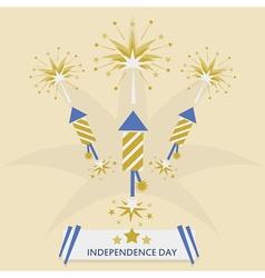 Independence Day with rocket fireworks set vector image