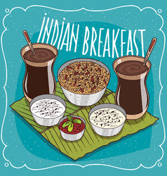Indian breakfast for two persons with muesli vector