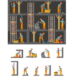 mining industry flat composition vector image vector image