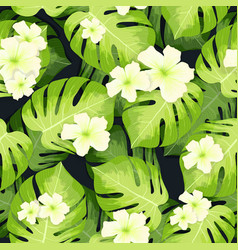 Monstera palm leaves pattern and hibiscus flowers vector