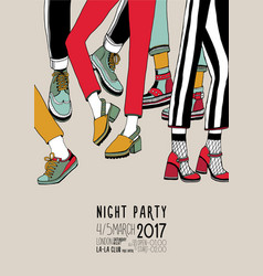 night party hand drawn colorful poster with vector image